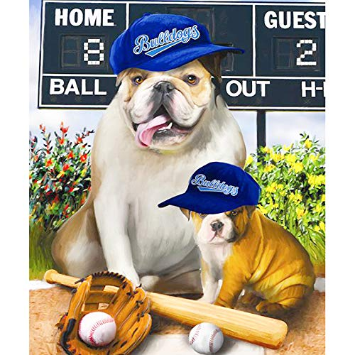 DIY 5D Diamond Painting by Number Kits, Crystal Rhinestone Diamond Embroidery Paintings Pictures Arts Craft for Home Wall Decor,Full Drill,Baseball Dogs 10x12 Inch