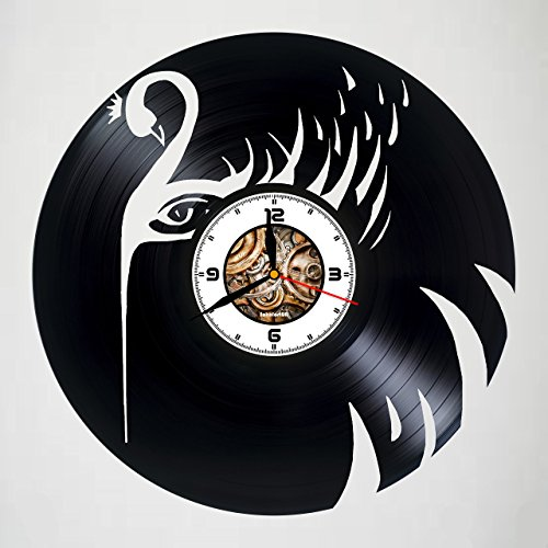 The Swan - Black - Bird - Handmade Vinyl Record Wall Clock - Artwork gift idea for birthday, christmas, women, men, friends, girlfriend boyfriend and teens- living kids room nursery -