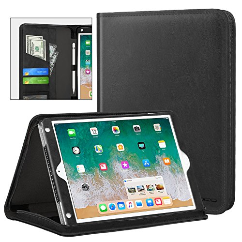 MoKo Case Fit 2018/2017 iPad 9.7 6th/5th Generation/iPad Air/iPad Air 2 Tablet, Genuine Executive Portfolio Case Slim Folding Stand Cover with Document Card Slots, Black ()
