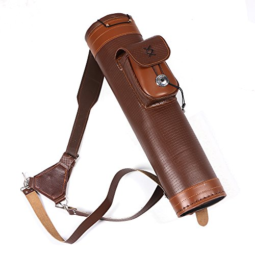 Toparchery Traditional Shoulder Back Quiver Bow Genuine Leather Arrow Holder with Large Pouch Handmade Straps Belt Bag Brown