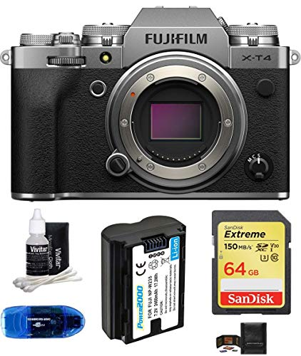 Fujifilm X-T4 Mirrorless Digital Camera Body (Silver) Bundle, Includes: SanDisk 64GB Extreme SDXC Memory Card, Spare Battery + More (6 Items)