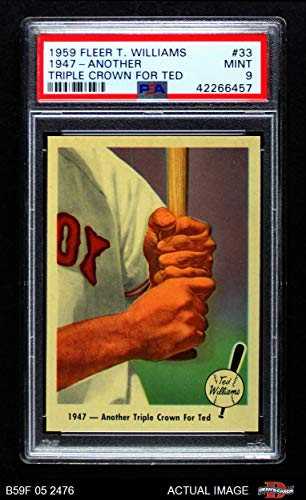 (1959 Fleer # 33 Another Triple Crown Ted Williams Boston Red Sox (Baseball Card) PSA 9 - MINT Red Sox)