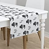 Table Runner - Buffalo Bison Southwest Aztec Southwestern Tribal Monochrome by Littlearrowdesign - Cotton Sateen Table Runner 16 x 90
