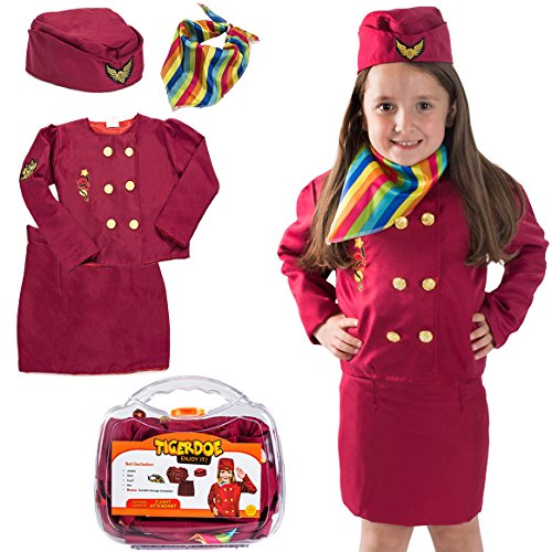 Tigerdoe Pilot Costume for Kids - Stewardess Costumes - Flight Attendant Costume - Kids Dress Up with Storage Case - Pretend Play - Role Play]()