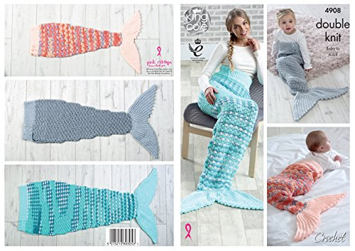 King Cole Double Knit Crochet Pattern - to make Ladies Kids & Babies Mermaid Tail Blankets (4908)