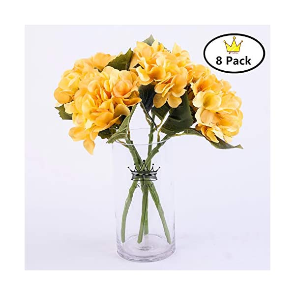 S.Ena, 6 Branch 30 Heads Artificial Silk Fake Flowers Leaf Hydrangea Wedding Floral Home Decor Bouquet Birthday Party DIY, Pack of 8 (Yellow)