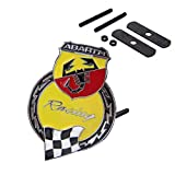BENZEE B067 Yellow Car Chromed Grille Emblem Badge Decal ABARTH Racing Italy For FIAT 124 125 125 500 695 OT2000 Coupe