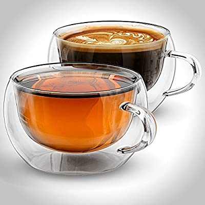 Tea or Coffee cups, Double walled glass, 7oz or 200ml, Set of 2, Insulated, Chinese Tea cups