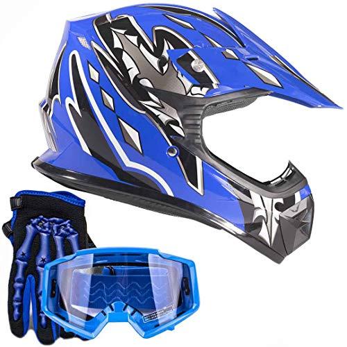 (Youth Kids Offroad Gear Combo Helmet Gloves Goggles DOT Motocross ATV Dirt Bike MX Motorcycle Blue, X-Large)