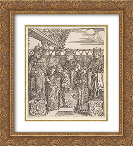 Albrecht Durer - 28x32 Gold Ornate Frame and Double Matted Museum Art Print - The Congress of Princes at Vienna, from The Triumphal Arch of Emperor Maximilian I