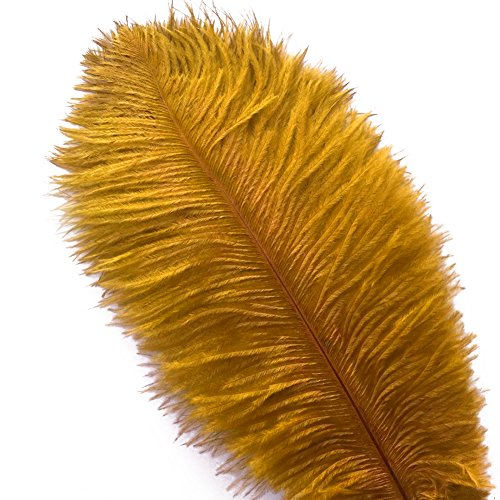 Piokio 20 pcs Gold Ostrich Feathers 12-14 inch(30-35