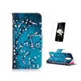 Fatcatparadise Case For LG K8 2017 [With Screen Protector], (TM) Anti Scratch Flip Soft Silicone Back Cover,Colorful Pattern Design Premium PU Leather Folio Wallet Case For LG K8 2017 (Wintersweet)