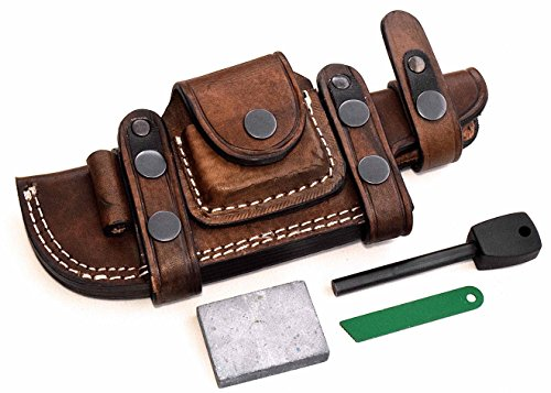 CFK Cutlery Company Custom Handmade BROWN Bushcraft TRACKER / Skinner Knife Buffalo Leather RIGHT / LEFT HAND Horizontal Scout Sheath  Sharpening Sto…