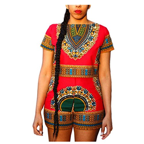 Street Short Block (Amiley Summer African Floral Print Short Sleeve 2 Piece Set Short Pants Casual Outfit beach Sportswear (XL, Red))