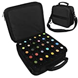 42 Compartment Portable Essential Oils Carrying Case Travel Essential Oils Storage Containers Makeup Bag Roller Bottles Oil Holder Display Organizer with Adjustable Stap Sturdy Zipper - Black