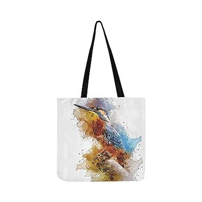 756ca81adbd8 Amazon.com  Alcedo Atthis Common Kingfisher Bird Small Perched 3520898 Canvas  Tote Handbag Shoulder Bag Crossbody Bags Purses For Men And Women Shopping  ...