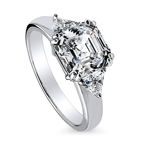 BERRICLE Rhodium Plated Sterling Silver Asscher Cut Cubic Zirconia CZ 3-Stone Engagement Ring Size (Asscher Cut Cz)