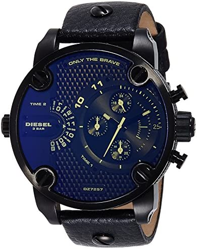 Diesel Men s DZ7257 Little Daddy Analog Black Stainless Steel Watch with Leather Band