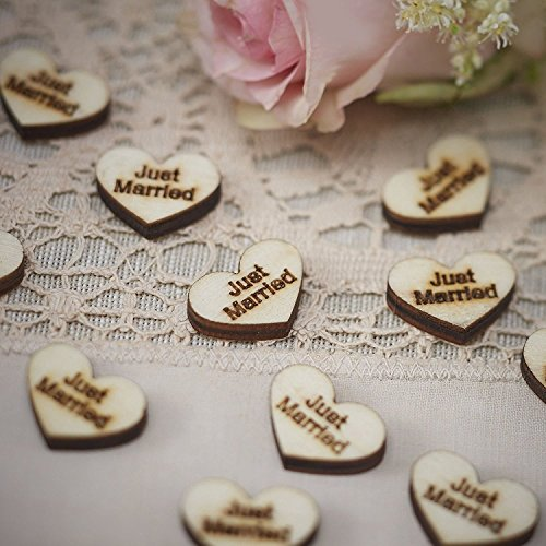 50pcs Just Married Wooden Heart Rustic Wedding Table Scatter Decoration Crafts