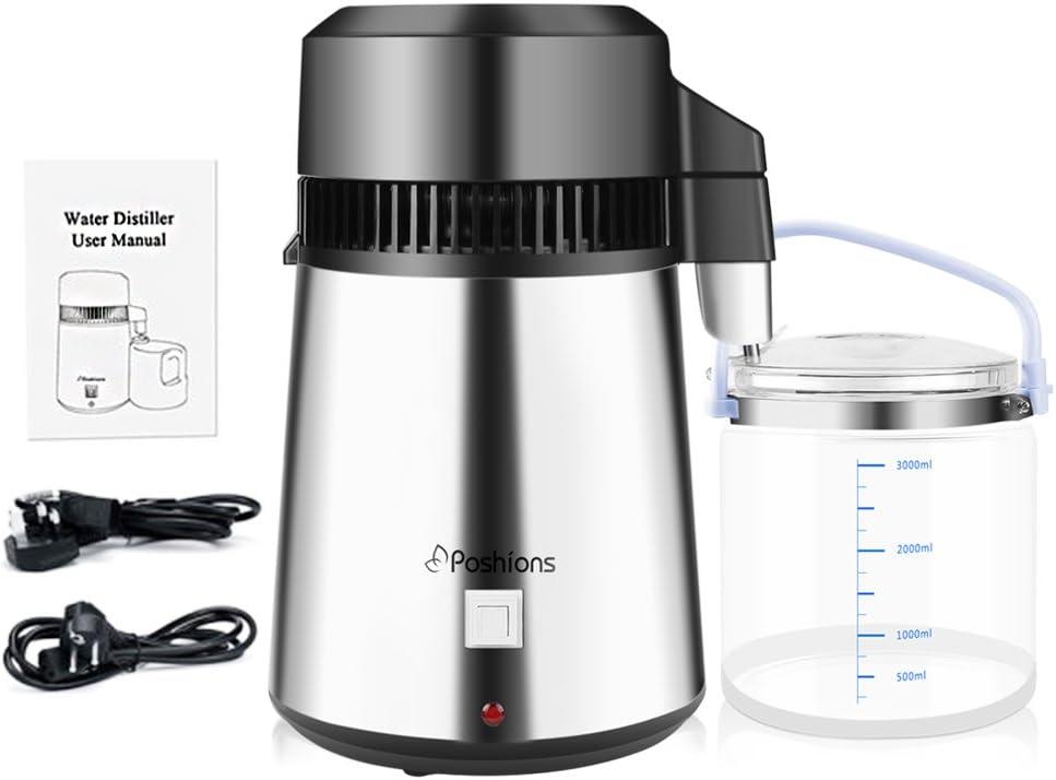 Destilador de Agua Poshions de 4L Dispositivo de Purificación de Agua de Acero Inoxidable 304 con Botella Recolectora para Uso en el Hogar (Versión Mejorada): Amazon.es: Hogar
