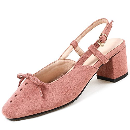 Toe Pink KingRover Elegant Shoes Heel Low Slingback Closed Cut Women's Pumps Square Toe Block Bows with qfwWUv4qF