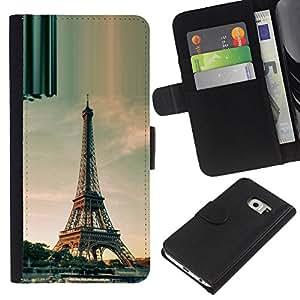 Ihec-Tech / Flip PU Cuero Cover Case para Samsung Galaxy S6 EDGE SM-G925 - Architecture Paris Eiffel Tower Day
