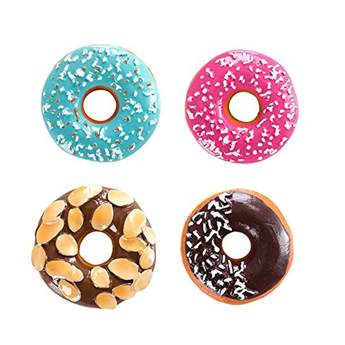 Huayoung Pack of 4 Lovely Doughnut Refrigerator Magnets Decorative Resin Refrigerator Magnets (4) by Huayoung