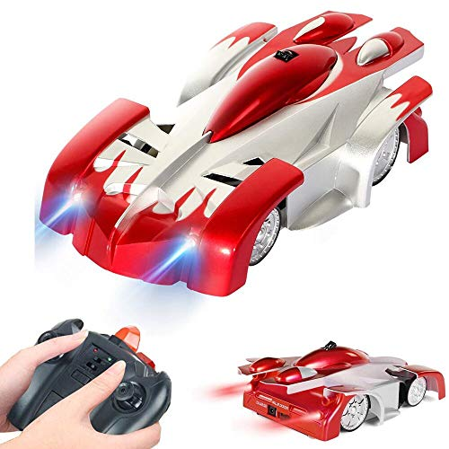 SZJJX Wall Climbing RC Car Home Vehicle Climber Radio Control Mini Gravity Remote Control Car Kids Electric Toy Sport Racing RC Stunt Car for Boy Girl Gift Present (Red)