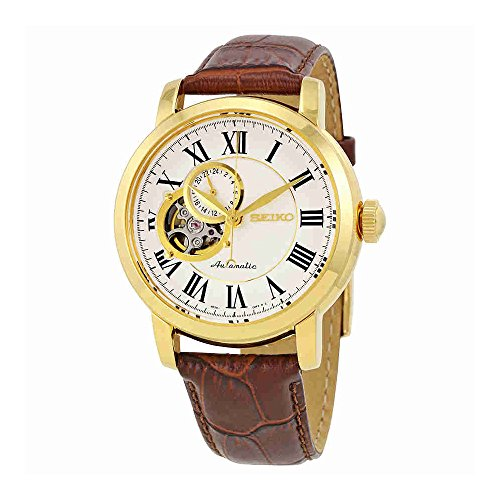 Seiko Automatic SSA232 White Dial Stainless Steel Gold Tone Brown Leather Band Mens (5 Superior Automatic Mens Watch)