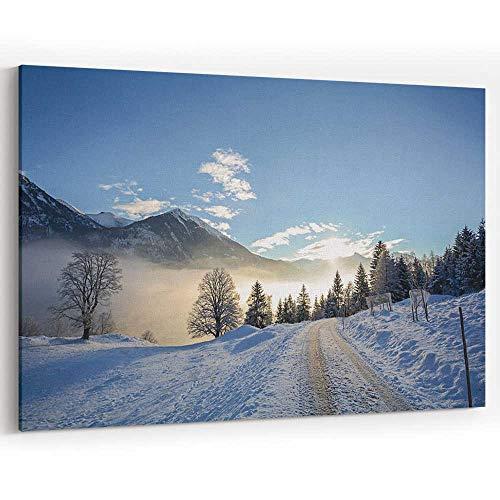 Winter Landscape with ICY Road Near Salzburg in Austria Canvas Art Wall Dector,Wall Decor/Decoration (Best Lakes Near Salzburg)
