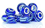 Best Wing Jewelry ''Blue Ripple'' Lamp Work Glass Charm Bead for Snake Chain Bracelets (10 Pcs)