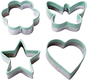 Ecoart Cookie Cutter Set - Star Flower Heart Butterfly Biscuit Cutters - Stainless Steel Sandwich Cutters/Vegetable Cutters Shapes Set with Comfort Grip for Kids & Adults (Set of 4)