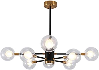 VINLUZ Modern Chandeliers 3 Lights with Clear Glass Shade Chrome Linear Pendant Lighting Industrial Dining Room Light Fixture Hanging Ceiling Light
