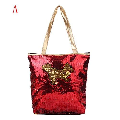 Shoulder Bag, Creazy Women Girl Sequins Glitter Mermaid Backpack School Travel Rucksack (A) by ®CreazyDog