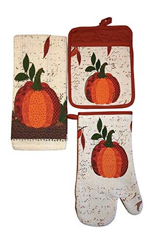 Harvest Pot Holder (Fall Harvest Pumpkin Oven Mitt, Pot Holder, and Kitchen Towel-3Pc Set)