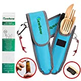 Bamboo Utensils Cutlery Set - Reusable Cutlery Travel Set - Eco-Friendly Wooden Silverware for Kids, Adults - Outdoor Portable Utensils with Case (Blue)