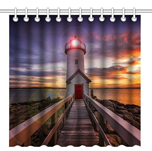 Wknoon 72 x 72 Inch Shower Curtain,Old Wood Bridge Lighthouse Sunset Landscape,Waterproof Polyester Fabric Decorative Bathroom Bath Curtains -
