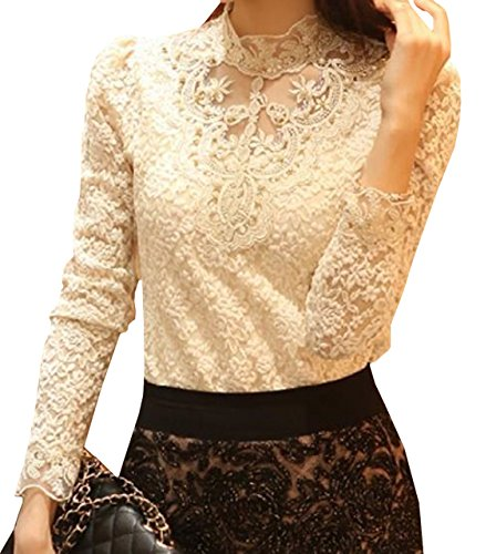 Lapiness Women's Floral Lace Blouse Overlay Turtleneck Sheer Long Sleeve Party Tops (Off-White, L) ()