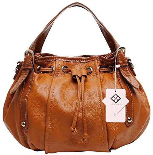 Tom Clovers New Genuine Leather Fashion Hot Sell Vintage Style Collection Top-handle Cross Body Shoulder Bag Hobo Satchel Drawstring Handbag for Women Brown