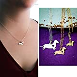 Miniature Dachshund Dog Necklace - Dotson - IBD - Personalize with Name or Date - Choose Chain Length - Pendant Size Options - Sterling Silver 14K Rose Gold Filled Charm - Ships in 2 Business Days