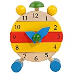 Naladoo Hand Made Wooden Clock Toys for Kids Learn Time Clock Educational Toys Red