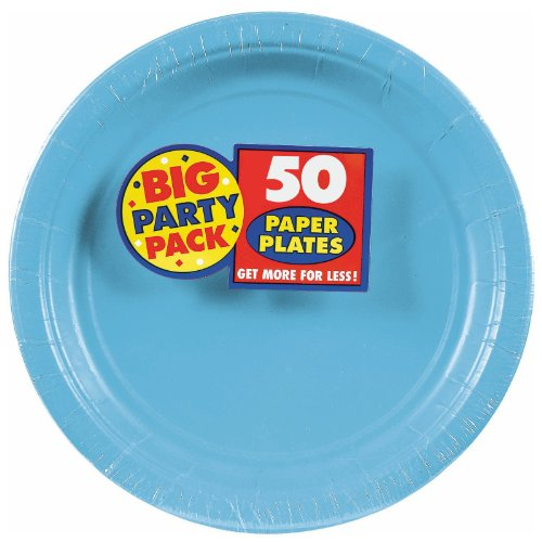 Caribbean Blue Big Party Pack Dinner Plates (50) - Dinner Plates Party Supplies