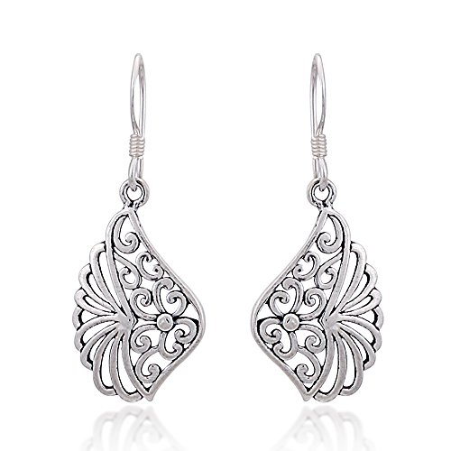 925 Sterling Silver Oxidized Bali Inspired Filigree Floral Unique Design Hook Earrings (Oxidized Floral Design Ring)