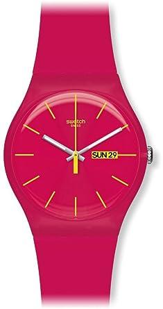 Swatch SUOR704 - Reloj analógico de cuarzo con correa de plástico, color rosa: Amazon.es: Relojes
