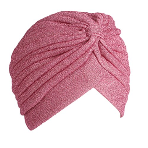 Stebcece Women Pleated Ruffle Stretch Shimmer Turban Hat Chemo Hats (Pink) ()