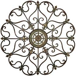 "Deco 79 50094 Large, Round Gold Metal Snowflake Wall Decor w/Fleur De Lis Designs, Vintage Christmas Decorations, Holiday Wall Decorations, Christmas Wall Art | 29"" x 29"""