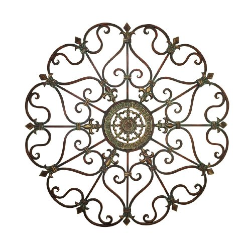 Deco 79 50094 Large, Round Bronze Metal Snowflake w/Fleur De Lis Designs, Vintage, Holiday Decorations, Christmas Wall Art, x 29 Diameter, Distressed