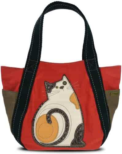 8f0eab84d7 Chala Carryall Zip Tote, Canvas Handbag, Top Zipper, Animal Prints (LaZzy  Cat