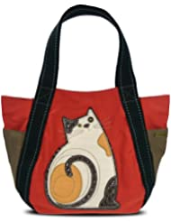 Chala Carryall Zip Tote, Canvas Handbag, Top Zipper, Animal Prints (LaZzy Cat-Orange)