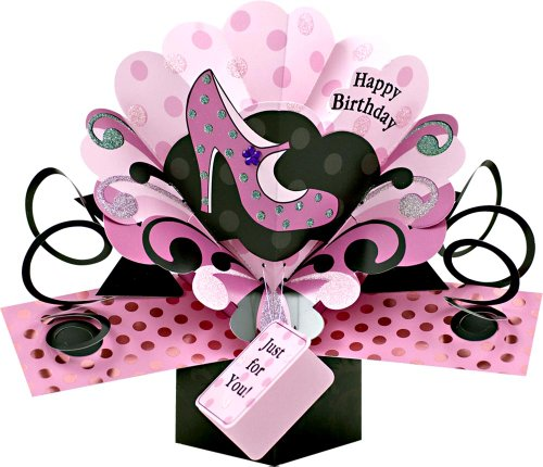 1 X Pop Up Pink Shoe Birthday Card